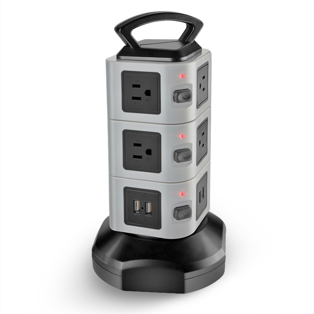 Power Strip With Usb Surge Protector 10 Ac Outlet 4 Usb Port Charger Charging Station Power